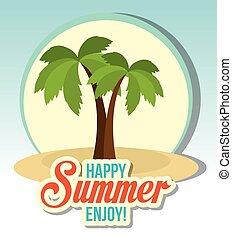 hermoso, verano, paisaje, icono