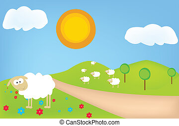 hermoso, verano, paisaje