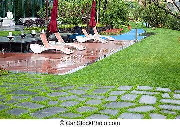 hermoso, verano, parque, con, verde, céspedes, y, macizos, después de lluvia