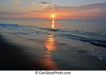hermoso, verano, playa, salida del sol, mañana