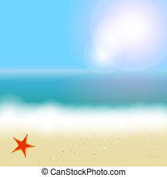 hermoso, verano, playa, sol, árbol, ilustración, vector, palma, plano de fondo, mar
