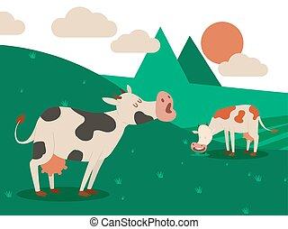 hermoso, verano, pradera, doméstico, cuernos, vacas, leche, ...