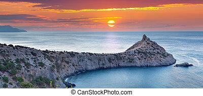 hermoso, verano, seascape., salida del sol