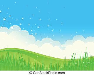 hermoso, verde, campos, paisaje.