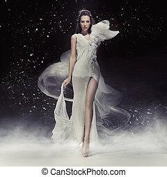 hermoso, vestido, blanco, morena, dama