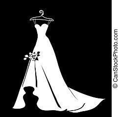 hermoso, vestido, boda