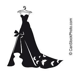 hermoso, vestido de la boda