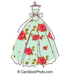 hermoso, vestido de la boda, diseño, aislado, blanco