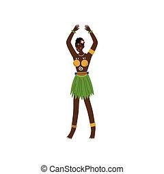 hermoso, vestido, tribal, africano, aborigen, ilustración,...