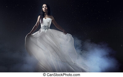 hermoso, vestido, woman., niña, cielo estrellado, joven,...