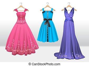 hermoso, vestidos, en, percha