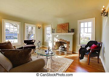 hermoso, vida, viejo, habitación, natural, tono, chimenea