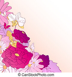 hermoso, violeta, flowes