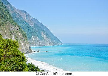 hermoso, vista aérea, cingshuei(qingshui), famoso, asia., ...