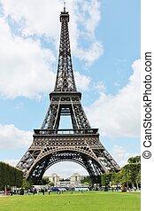 hermoso, vista, de, la torre eiffel, en, parís