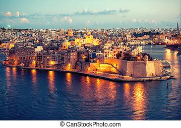 hermoso, vista, de, magnífico, puerto, y, senglea, l-isla, península, con, fortaleza, santo, michael, malta