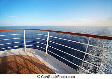 hermoso, vista, de, popa, de, grande, crucero, ship., mar, contorno, splashes., rail.