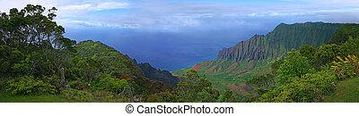 hermoso, vista, hawai, kauai, litoral