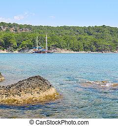 hermoso, vista marina, barco, placer