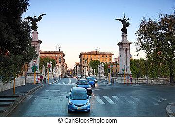 hermoso, vittorio, esculturas, ponte, emanuele, italia, roma...