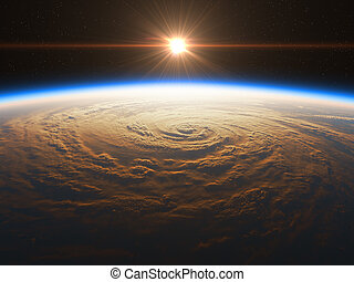hermoso, y, realista, salida del sol, encima, la tierra