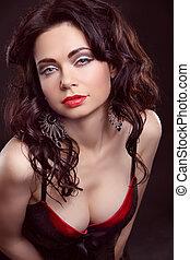 hermoso, y, sexy, niña, llevando, rojo, lenceria, encima,...