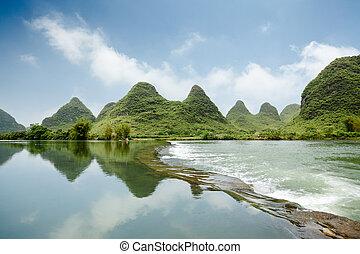 hermoso, yulong, río, landform, karst