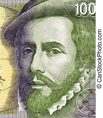Hernan Cortes (1485-1547) on 1000 Pesetas 1992 Banknote From Spain. Spanish Conquistador who led an expedition that caused the fall of the Aztec Empire.