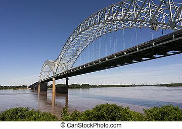 The Mississippi River flows under the Hernando de Soto Bridge looking towards Arkansas