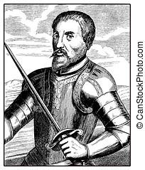 Hernando de Soto spanish explorer, old print
