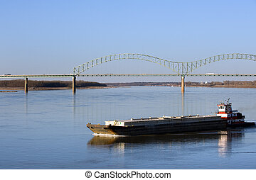Mississippi river - Hernando deSoto bridge over Mississippi...