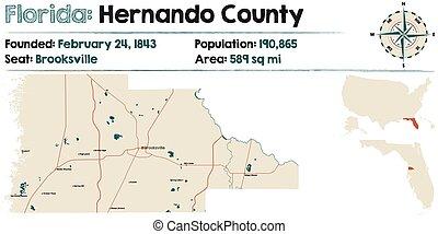 hernando, floride, comté, carte