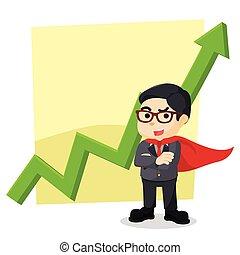Hero businessman standing in front