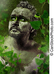 Hero, fantasy image, ancient gods, warrior in green forest