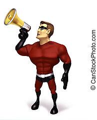 Hero hold a megaphone