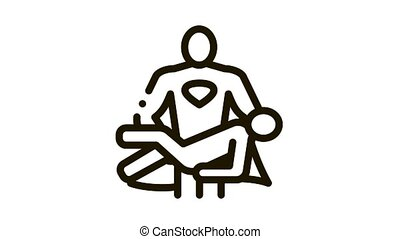 Hero Holds on Hands Human Icon Animation. black Hero Holds on Hands Human animated icon on white background