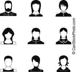 Hero icons set, simple style