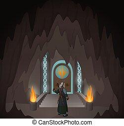 Hero in the mystic cave