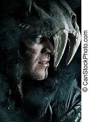 hero man - Ancient shaman warrior. Ethnic costume. Paganism,...