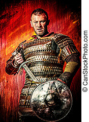 hero of the past - Portrait of a courageous ancient warrior...