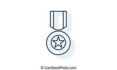 Hero of the Soviet Union gold star award icon. Illustration on white background. Motion graphics.