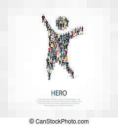 Isometric set of styles, hero , web infographics concept illustration of a crowded square, flat 3d. Crowd point group forming a predetermined shape. Creative people. - Vector Illustration. Stock vector.