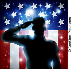 Hero Soldier and Stars and Stripes - Patriotic soldier or...