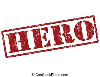 Hero grunge rubber stamp on white, vector illustration