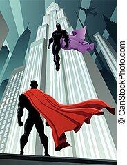 Hero Versus Villain - Superhero facing supervillain. No...