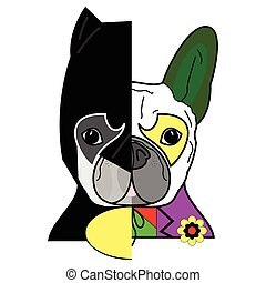 Hero vs villain characters  in French bulldog style cartoon style graphic