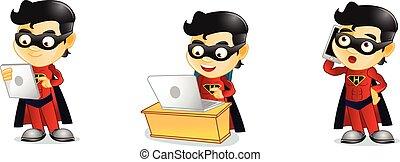 Hero with laptop vector