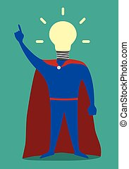 Hero with light bulb instead of head, insight - Hero with...