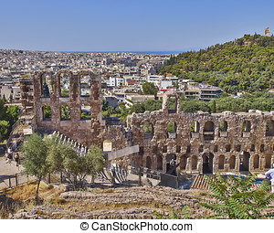 Herodeion theatre and Athens cityscape, Greece - ancient...