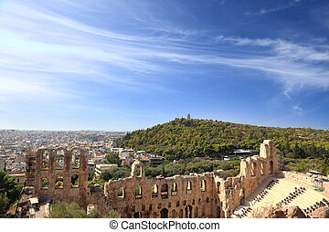 Herodion ruins with cityscape view, Athens Greece